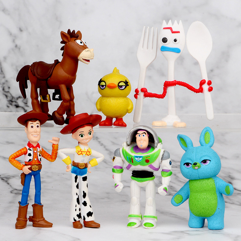4-7cm 7pcs Toy Story 4 Fokry Woody Buzz Lightyear Jessie Yellow Duck Blue Rabbit Action Figure Toys Christmas Gift Doll No Box