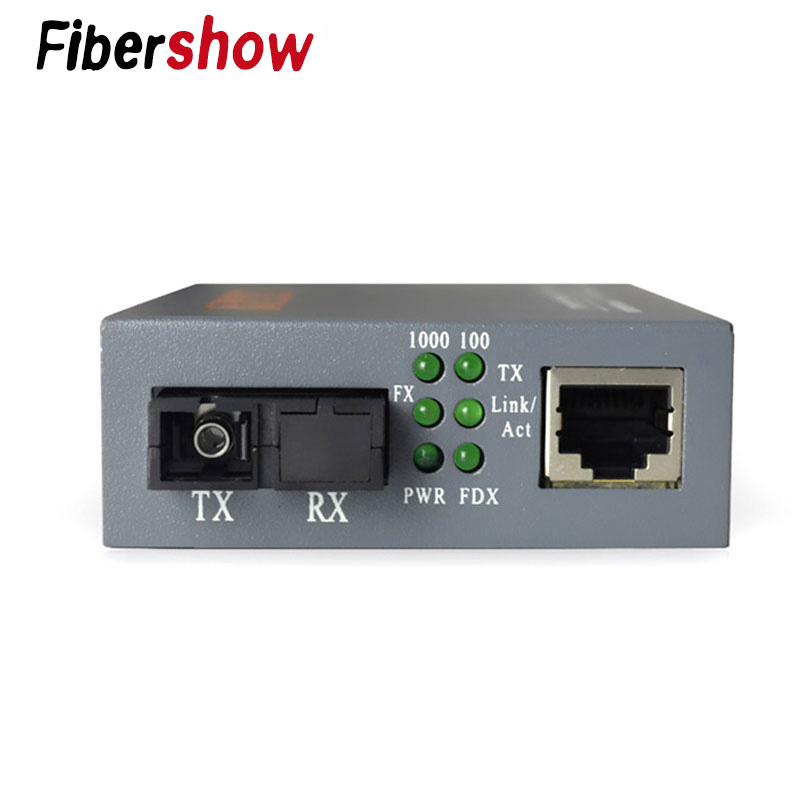Gigabit Fiber Optical Media Converter HTB-GS-03 1000Mbps  Single Fiber SC Port External Power Supply