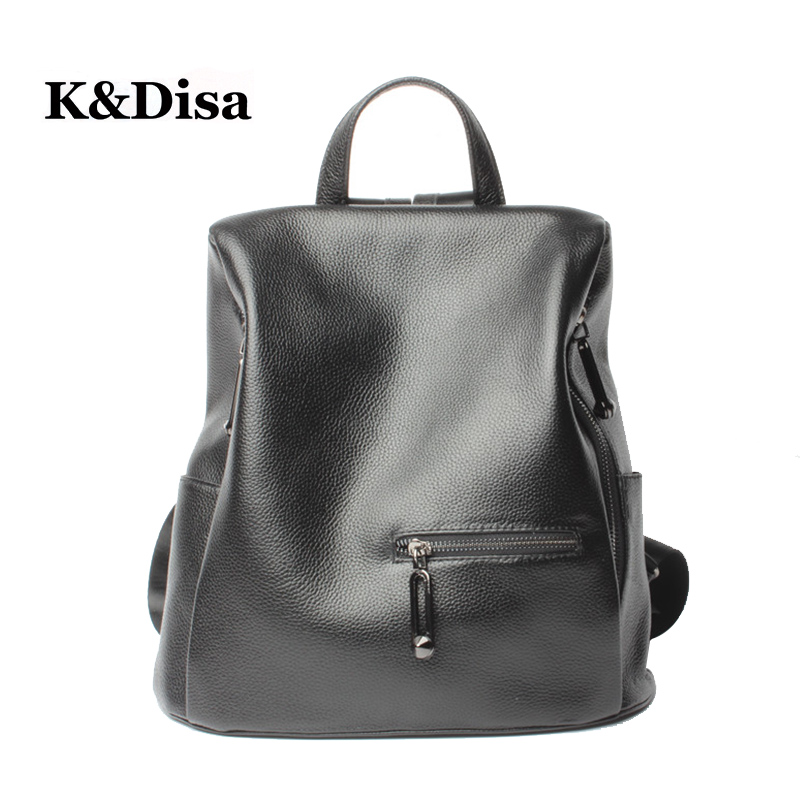 Women Genuine Leather New School Backpacks High Quality Girl's Soft Shoulder Bags Women's Fashion Wild Large-capacity Backpack