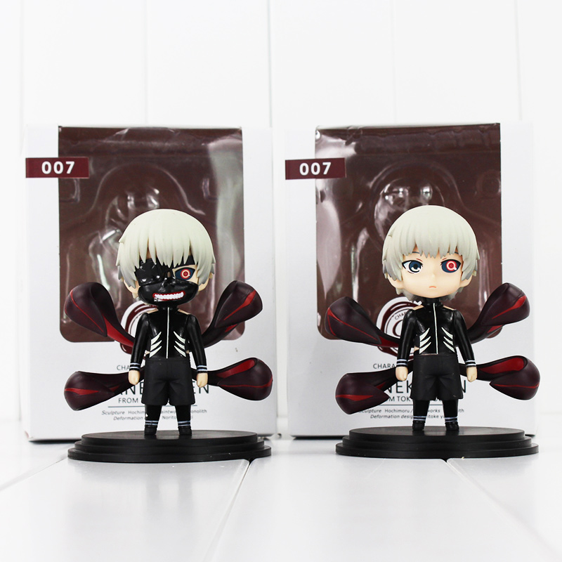 2pcs/lot Anime Tokyo Ghoul Figure Toy Q Version Kaneki Ken PVC Model Doll New Arrival Free Shipping 2 style tokyo ghoul kaneki ken awakened ver pvc action figure collectible model doll toy 22cm