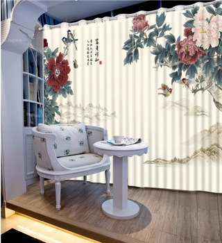 Classic Style 3D Curtains Window Blackout Curtain Drapes For Living Room Bedroom Flower Thick Polyester/Cotton Cortinas