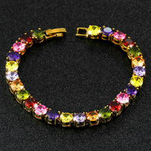 YINHED Luxury Women's Wedding Bracelet Gold Color Bridal Jewelry 26pcs AAA+ Multicolor Zircon CZ Charm Bracelet ZB003