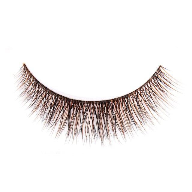 0d9441d86e4 3 Pairs Fashion Woman 3D Long Bushy Handmade False Eyelashes Natural  High-end Makeup Beauty Tool coffee colour fake lashes