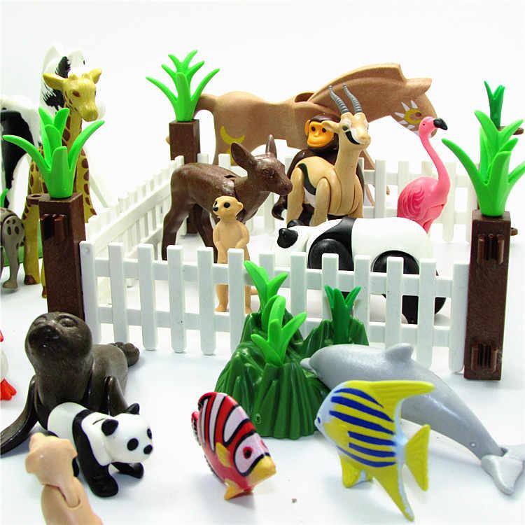 الحيوانات الأصلية Playmobil الحيوانات المتحركة ألعاب شخصيات الحركة للأطفال Playmobil الباندا الدب الكلب الأسماك قرد الحصان الغزلان دولفين اللعب