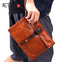 BJYL Men's handbag casual leather handmade clutch bag men's new large capacity retro leather clutch bag male tide