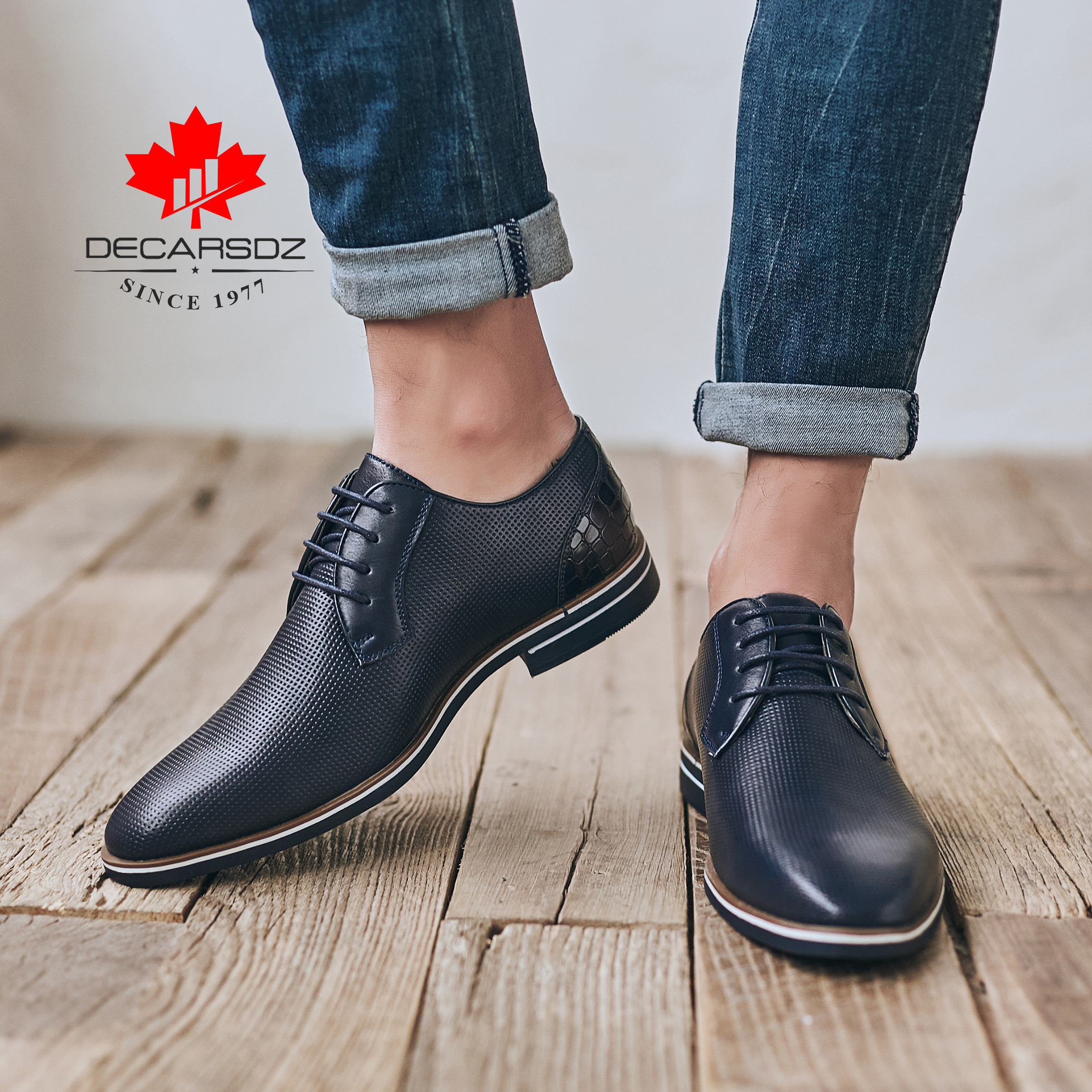Casual leather shoes men,DECARSDZ Quality Men shoes,Business casual shoes designed in Paris,Comfortable leather shoes for men