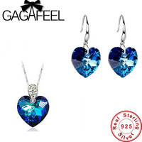 Brand New Romantic Heart Of Ocean Blue Crystal Necklace Drop Earrings Pure 925 Sterling Silver Jewelry