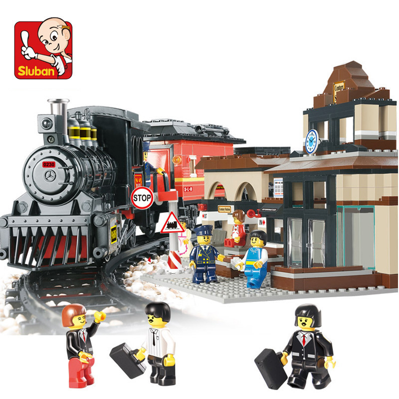 Sluban Model building kits compatible with lego city Train station Explore 821 3D blocks Educational toys hobbies for children