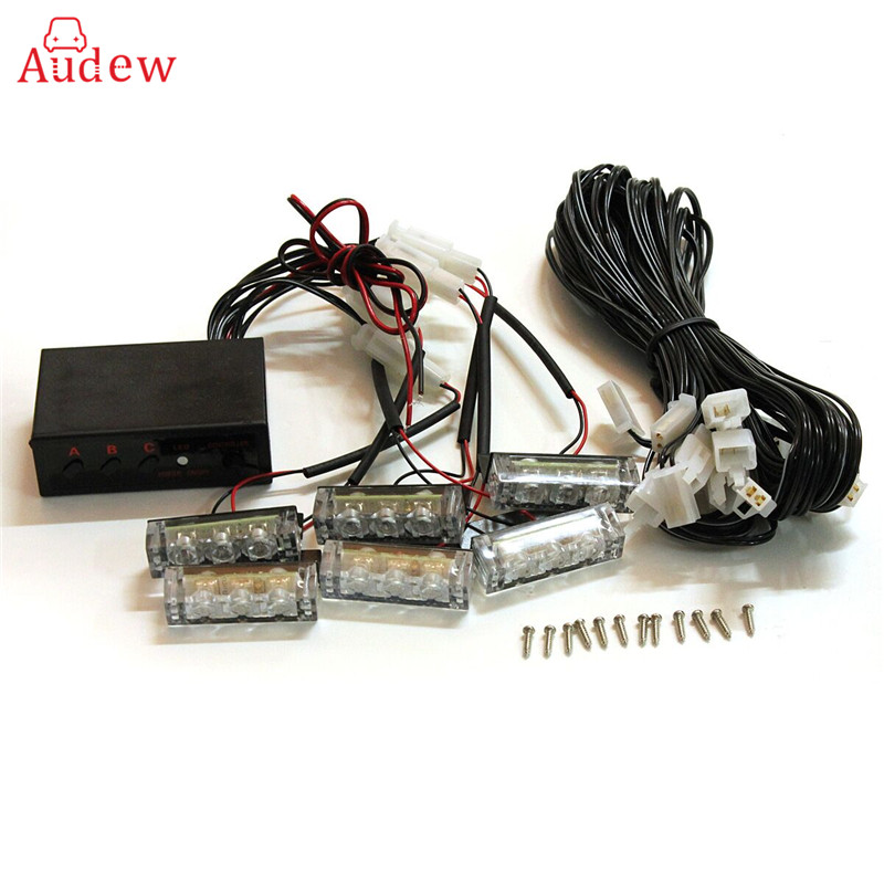12V 6 LED Car Motorcycle Flash Light bAR Strobe Warning For Police Truck Firemen Flashing Grille Lights Amber цена и фото