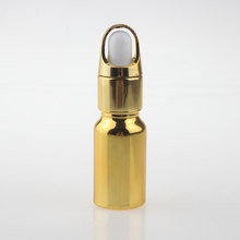 10ml glass bottle dropper round shape gold and silver with pipette