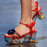 Floral Printing Chunky Heel Sandals Women Summer Shoes Beading Pumps Sexy Women Sandals Platform Bohemia Style