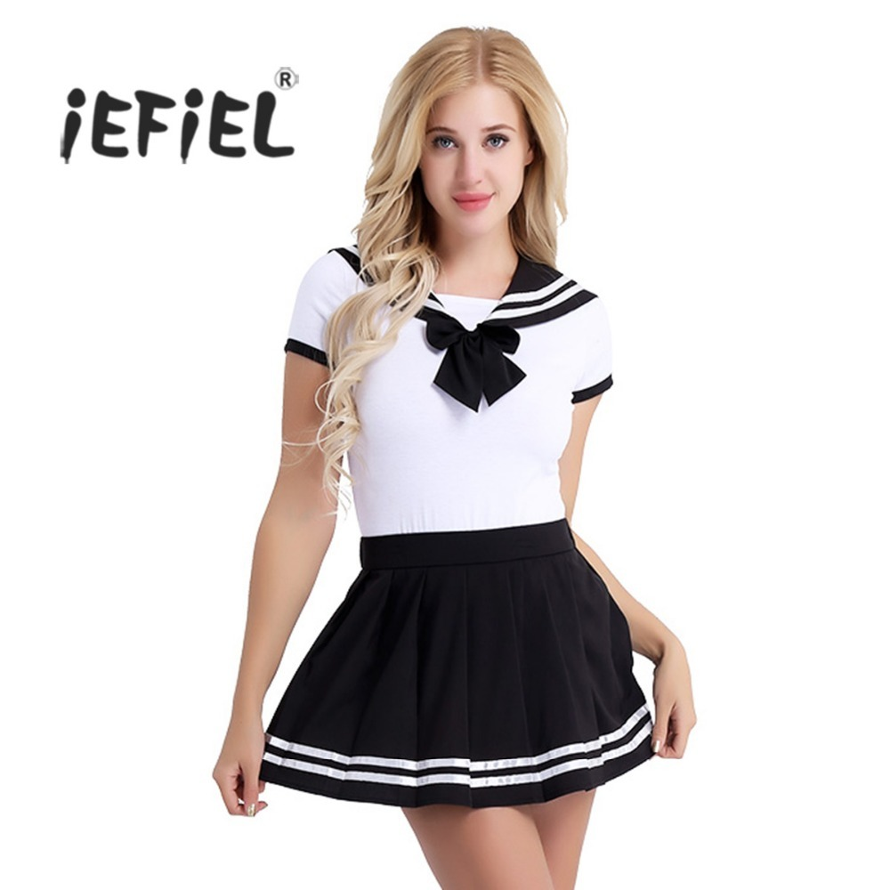 2Pcs Women Adult Cotton Baby Diaper Lover Short Sleeve Snap Crotch Romper with Mini Pleated Skirt Clubwear Costume Cosplay Sets