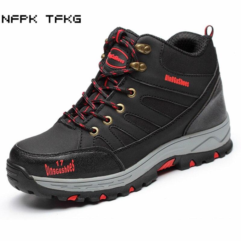 Plus size hommes casual acier embout chaussures de sécurité de travail en cuir souple printemps automne hiver cheville bottes ponction preuve de protection