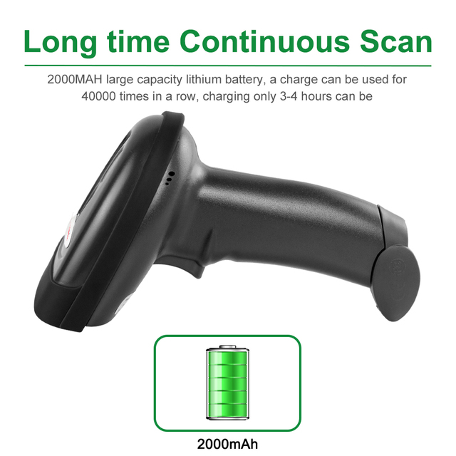 USB Wireless Barcode Scanner 30m 2.4G Laser Bar Code Reader with Receiver(2.4GHz Wireless &USB2.0 Wired) for POS System RD-1698W 1