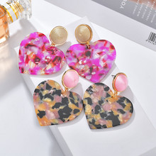 New Fashion ZA Statement Jewelry Cute Colorful Rose Heart Dangle earring For Women Charm Acrylic Geometric Hanging earring 2019(China)