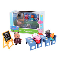 Hot Genuine Peppa Pig house playset Classroom suit Play house toy Peppa and friend teacher antelope Toys for Children