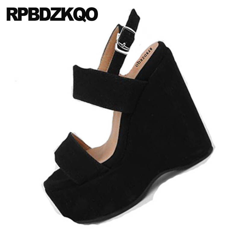 2018 Lujo Verano Alto Cuñas Tacón Zapatillas De Plataforma Apricot  Porciones Sandalias Diseñador Slingback Genuina Punta Zapatos ... e872b9eb85e0