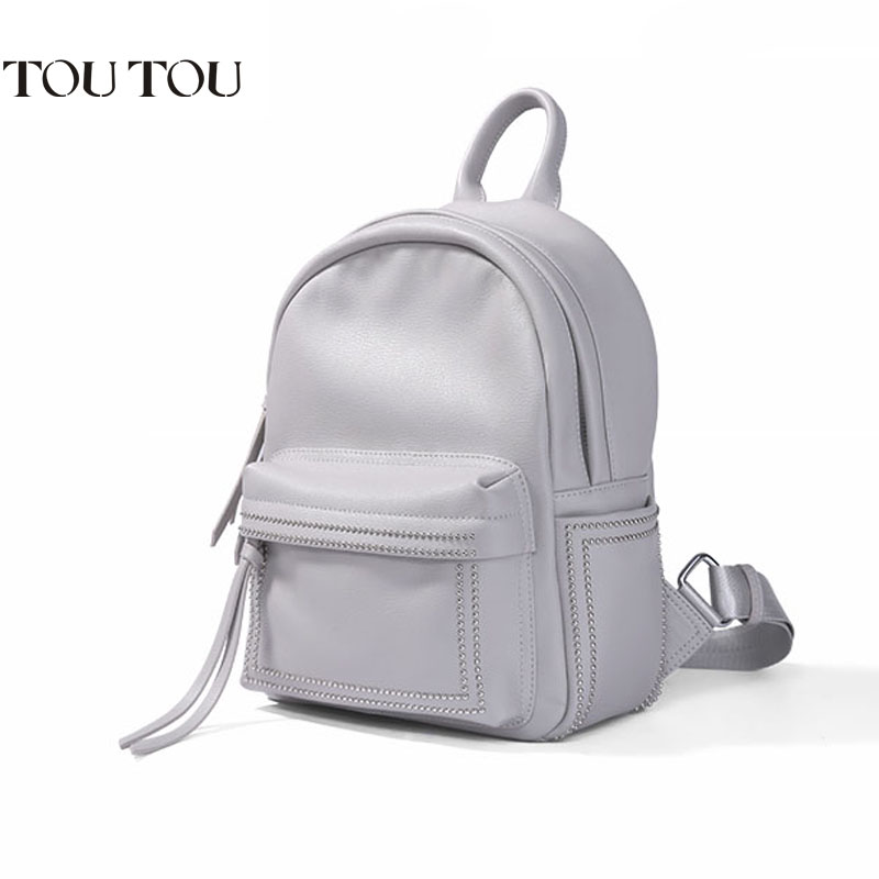 A1658 TOUTOU Brand Designer Large Capacity Rivet Backpack Female College Schoolbag Casual Backpacks For Girls Mochila Escolar