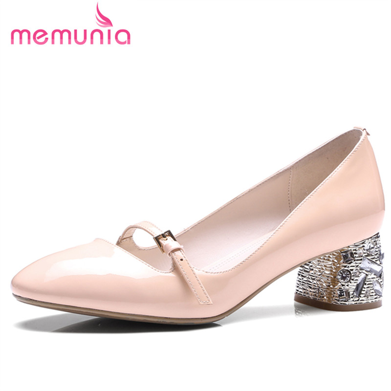 ФОТО MEMUNIA Genuine leather women pumps solid mary janes shoes wedding party elegant fashion elegant med heels shoes shallow