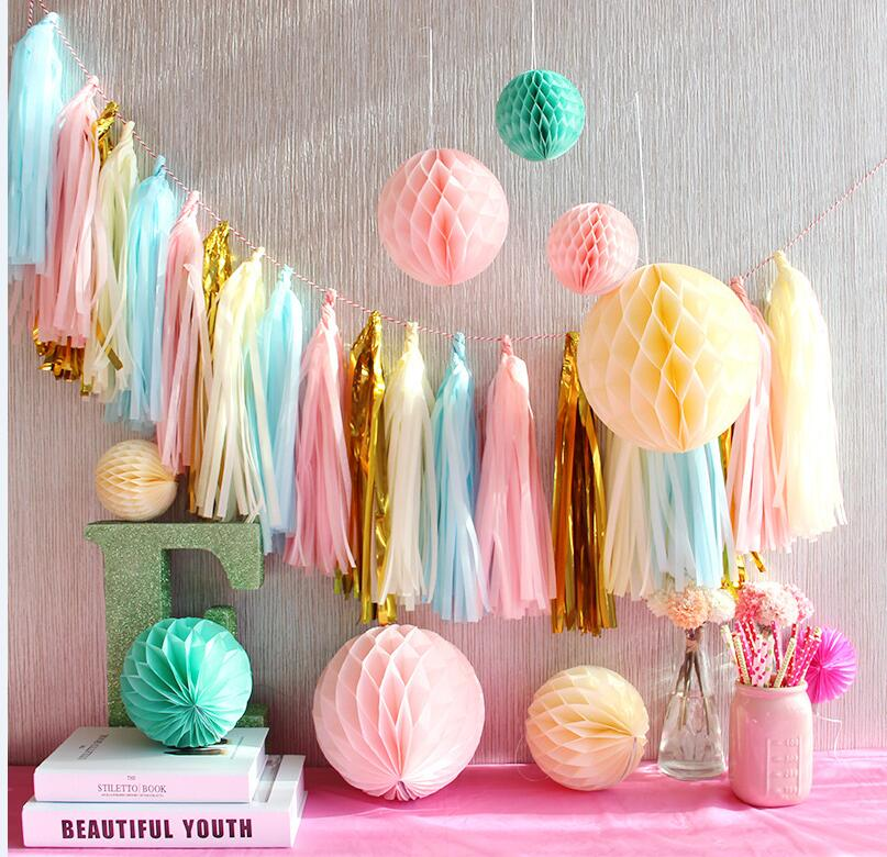Tissue Paper Tassels Honeycomb balls Baby Shower Decorations Flower Garland Kids Birthday Party