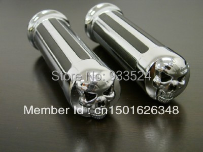 """Rationeel Schedel 1 """"voor Harley Chrome Diamond Hand Grips 25mm Touring Electra Glide Road King Sportster Dyna Softail Bobber Chopper"""