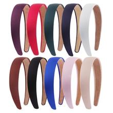 Colorful 3cm Width Satin Headbands Plain Hair Band Non-slip Ribbon Hairband for Women Girls DIY Accessories Tiara