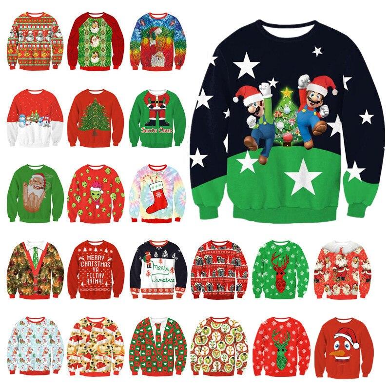 New Unisex Das Mulheres Dos Homens de 2019 Camisola Feia Do Natal Para Férias Santa Elf Natal Impresso Novidade Blusas Outono Inverno Roupas