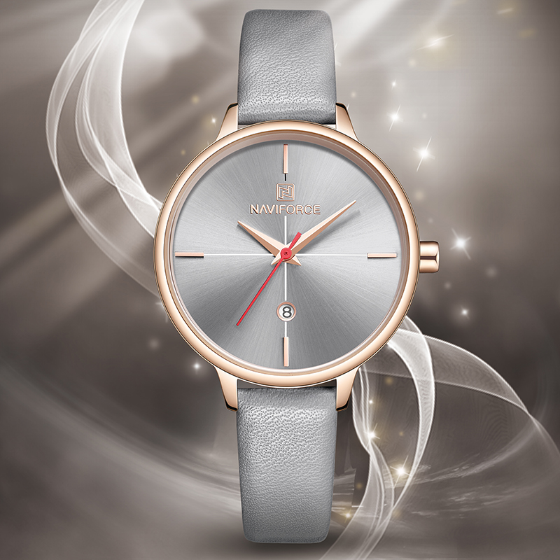 NAVIFORCE Women Watches Top Luxury Brand Lady Fashion Quartz Watch Simple PU Watchband Waterproof Wrist Watch Relogio Feminino