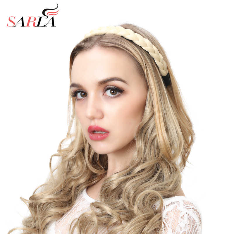 ... SARLA Braid Hair Band Twisted Headband Synthetic Stretch Plait Hair  Elastic Band Black Blonde Hair Braid ... 8c7bee3a594
