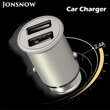 JONSNOW 5V 4.8A Dual USB Car Charger Quick Charging for iPhone Samsung Huawei Mini Metal Car-Charger Auto Charge 2 Port 24W