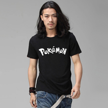 Pokemon Tshirt Anime 2016 Summer Male Black Letter Printed T-shirt Swag Skateboard Street Mens Print Tshirt Hippie Go Shirts