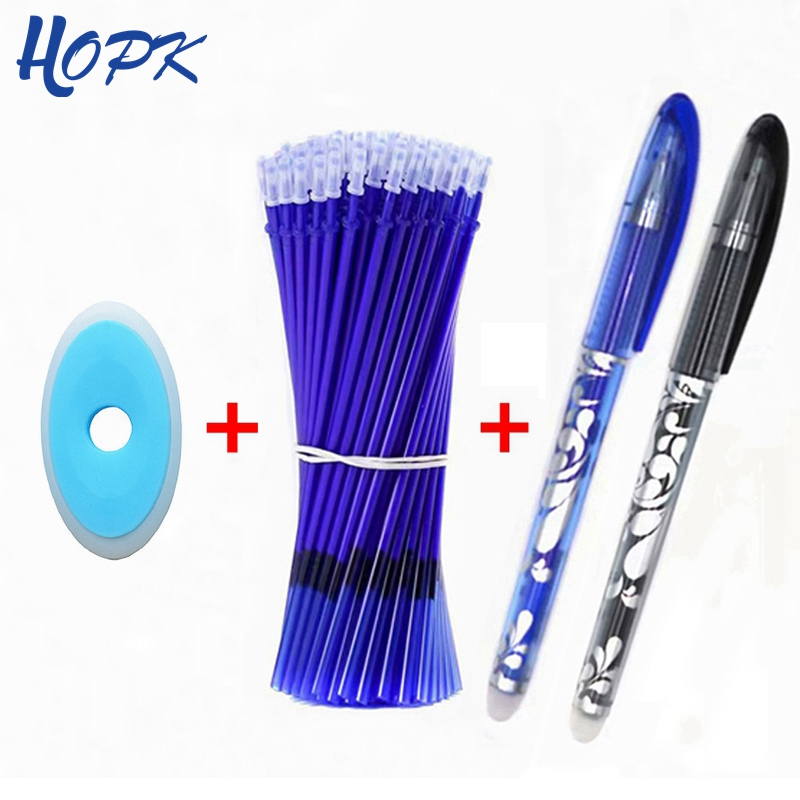 53Pcs/set Erasable Washable Handle Pen 0.5mm Refill Rod Blue/Black/Ink Gel Pen School Office Writing Supplies Stationery Tool