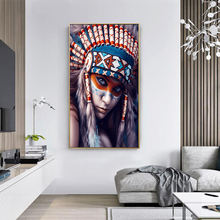 Винтажный оригинальный постер с индийской девушкой Настенная