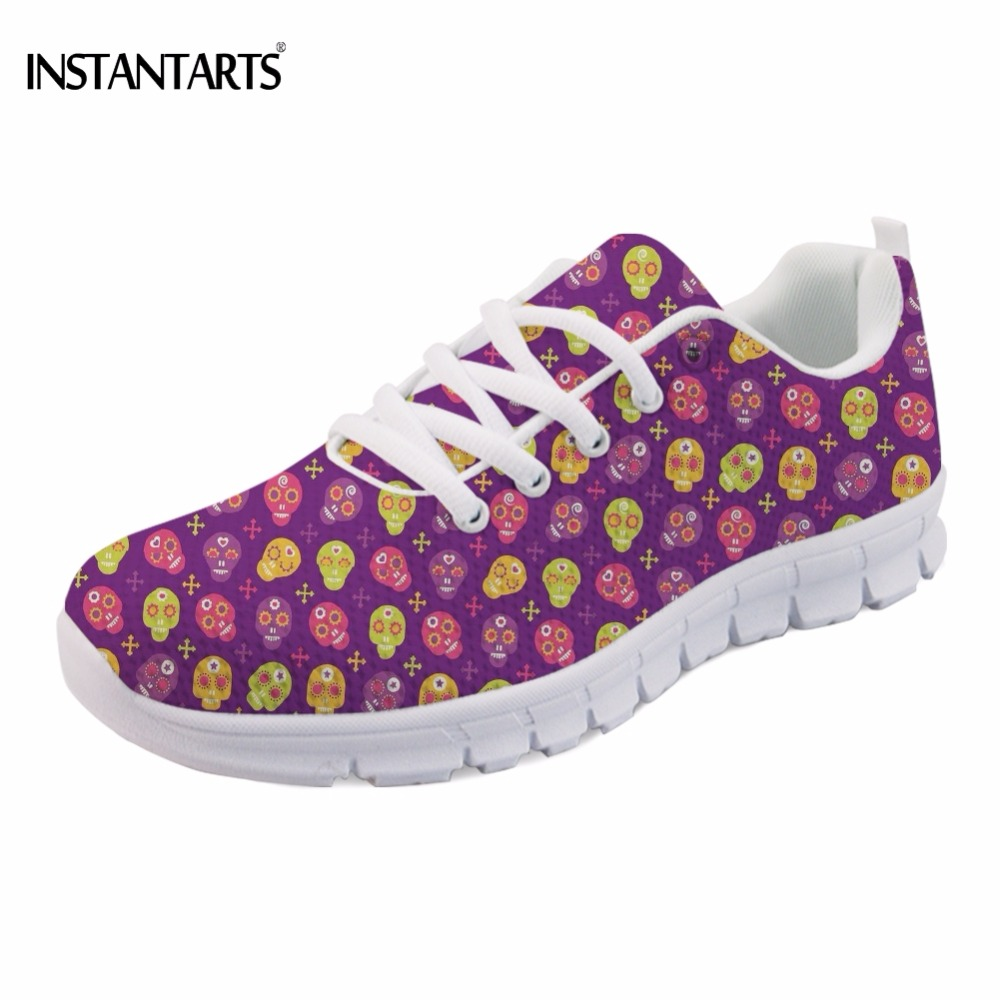 INSTANTARTS Vintage Punk Skull Candy Print Girls Flats Shoes Fashion Comfortable Breathable Women Sneakers Casual Students Flat instantarts fancy flamingos women flat sneakers comfortable spring woman casual lace up flats air mesh breathable students shoes