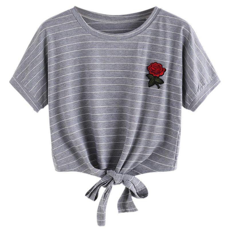 HTB1aPa2SpXXXXciXXXXq6xXFXXXV - Embroidery Rose Short Sleeve Tops Tees JKP110