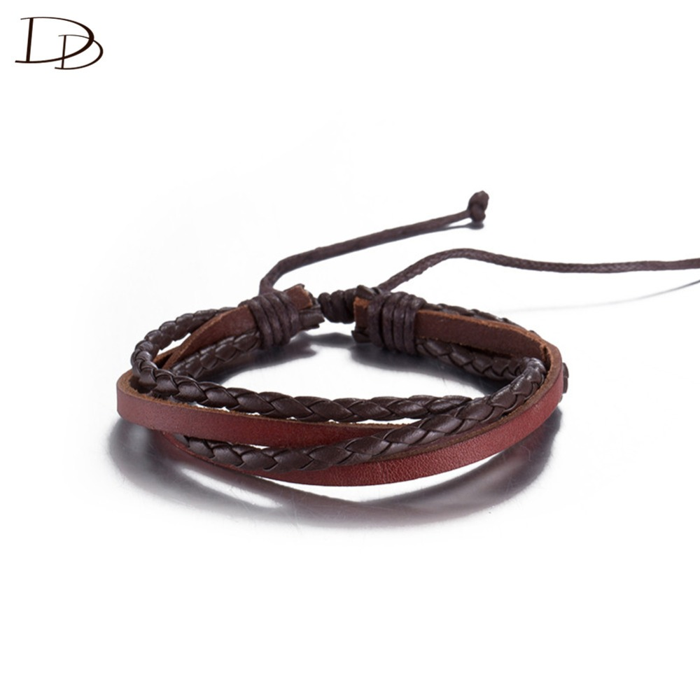 wholesale simple design cool braided leather bracelet for women eight styles adjustable size pulseras fashion jewelry DFSH041