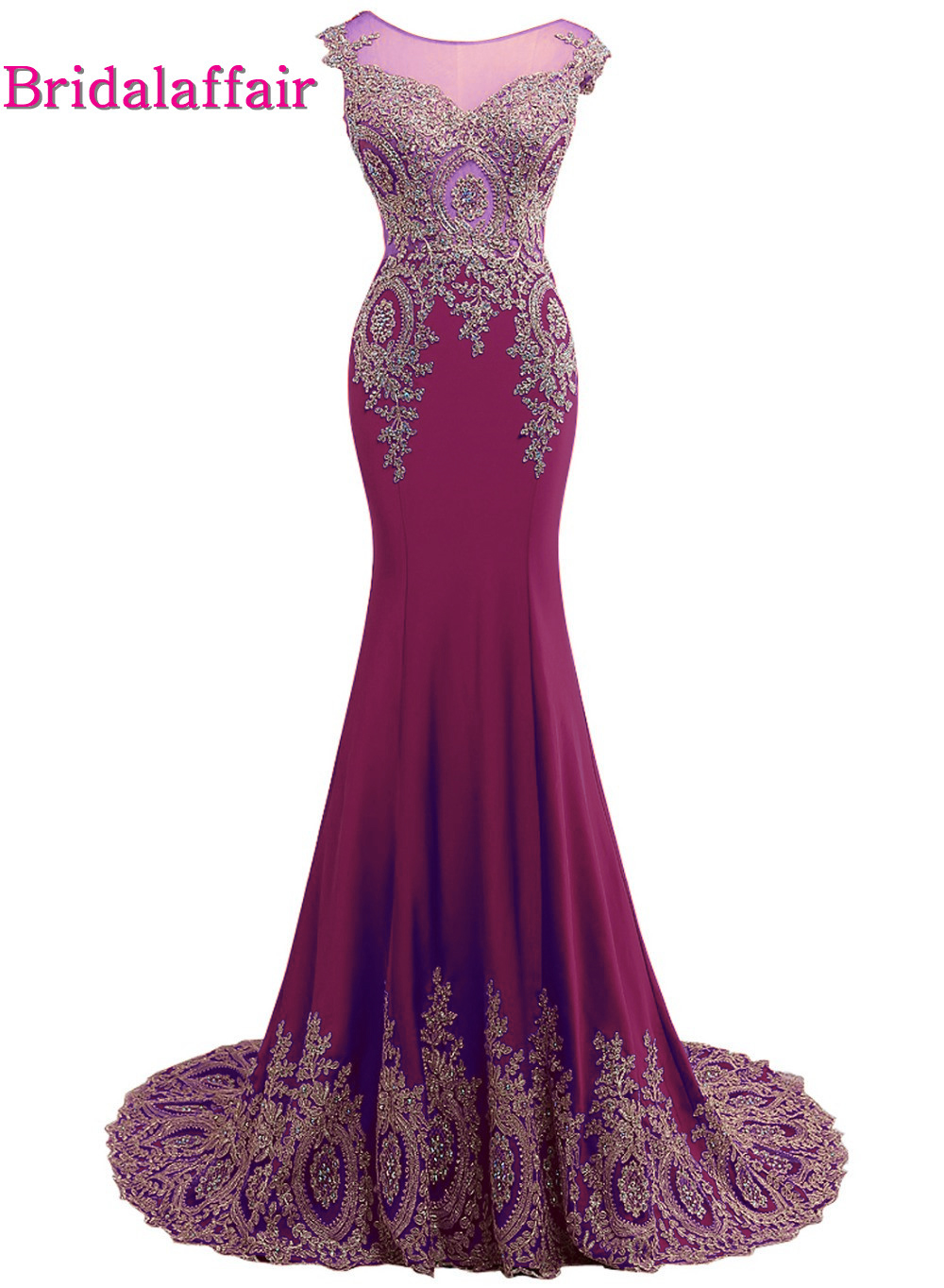 Real Photo BurgundyMermaid Appliques Prom Dresses 2018 Sweep Train Short Sleeve Scoop Party Prom Gown New