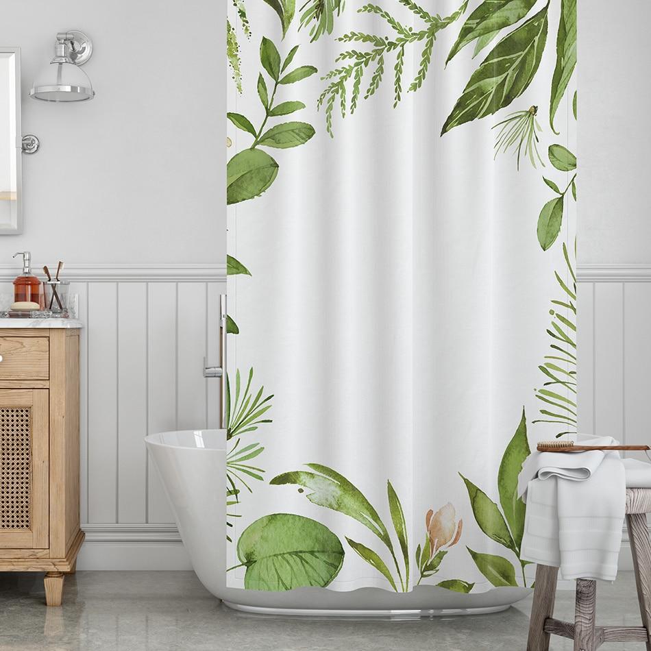 kopen goedkoop groene bladeren douche gordijnen plant print bad gordijn polyester stof waterdicht badkamer decor doek drop shipping d30 prijs