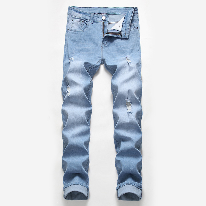 2019 New Jeans Men, Holes, Elastic Trousers, Light Color, Summer Jeans