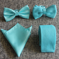 Wholesale Gentlenmen Mint Green Woven Ties Kintting Necktie Printed Tie with Bowtie Pocket Square