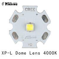 5pcs Cree XLamp XP L XPL V5 U6 V6 Dome Lens Neutral White 4000K 10W LED Emitter Chip Blub Lamp Light with 20MM PCB Heatsink