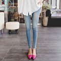 903# Fringed Scratch Light Blue Denim Slim Maternity Jeans 2017 Spring Pencil Belly Pants for Pregnant Women Pregnancy Trousers