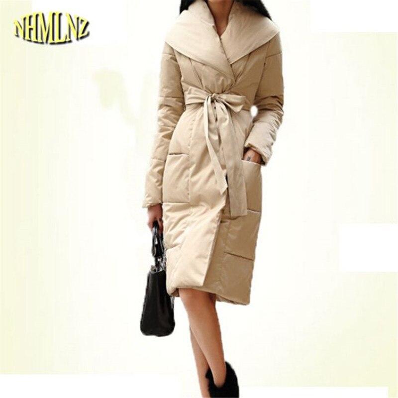 Últimas mujeres moda invierno Chaqueta de algodón elegante estupenda  encapuchada abrigo Delgado Big yardas ocio medio largo coat g2223 e3be63df96557