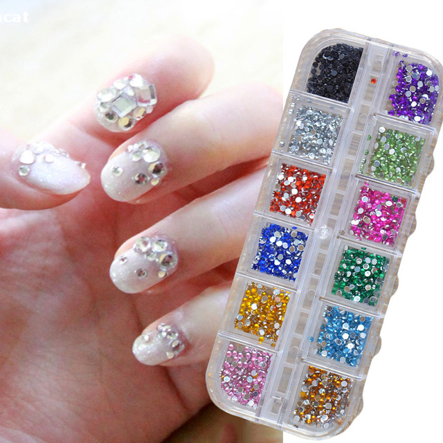 500 Stks 2mm Ronde Steentjes 12 Kleuren Hard Case Nail Art Tips