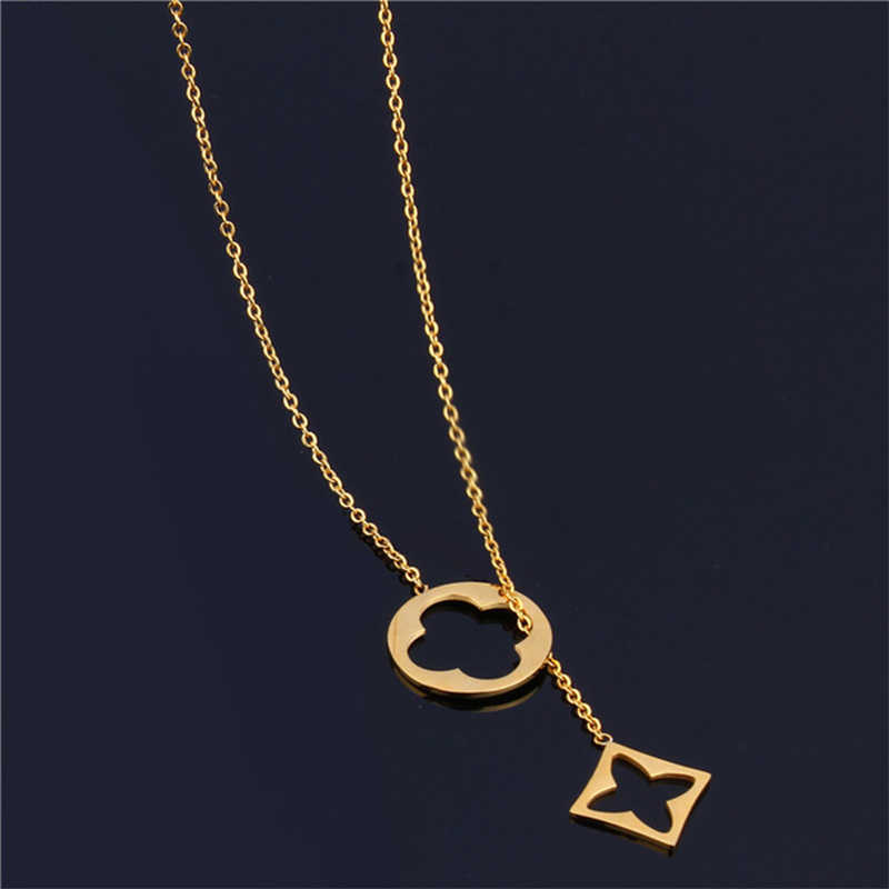 ZUUZ personalized female choker gold long pendant necklace women chocker neckless accessories jewelry stainless steel chain