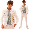 Plus Size Men Fashion New White Rhinestones Tassels Jacket Male Dj Singer Blazer Coat Man Jazz Stage Performance Costumes