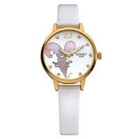 Disney marque blanc en cuir montres à quartz pour femmes de luxe diamant lumineux rose violet rouge dames horloges étanche d'origine