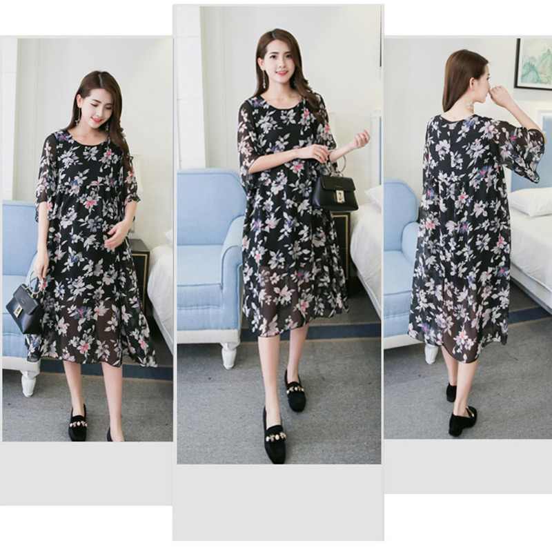 Clothes for Pregnant Women Dress Flower Print Chiffon Maternity Clothing Summer Fashion Short Sleeve Casual Pregnancy Dresses