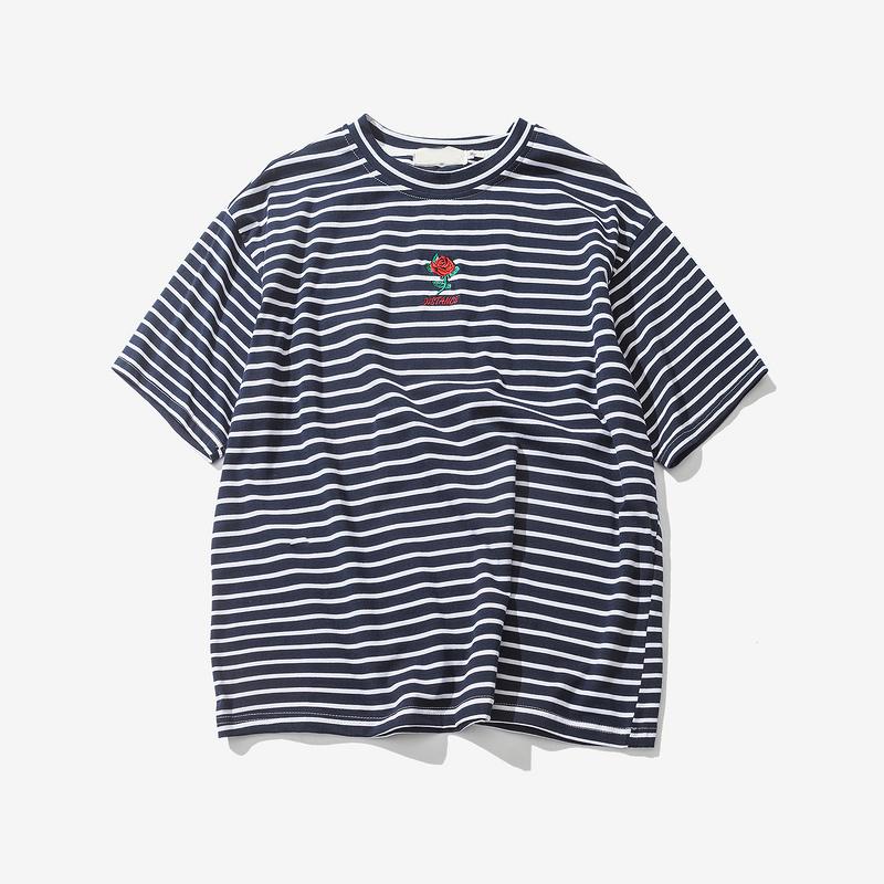 Dark Icon Rose Embroidery Striped Mens T-shirt Short Sleeve 19 Summer Hi-street Oversized Hip Hop Tshirt Cotton Tee Shirts 13