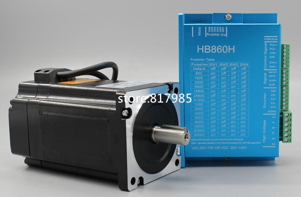 Moteur pas à pas en boucle fermée cc 86HB250-156B + HB860H moteur pas à pas 12.5N.m Nema 86 Hybird en boucle fermée 2 phases moteur pas à pas